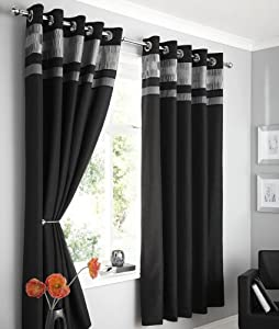 Black Faux Silk Lined Curtains With Eyelet Ring Top 66 X 72 Opulence