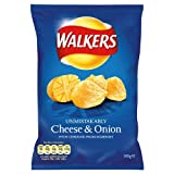 Walkers Cheese and Onion Flavour Crisps 100g Price Marked £1.00 (Pack of 12)