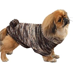 East Side Collection Yarn Metallic Turtleneck Dog Sweater with Poms, Teacup, Brown