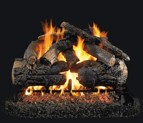 """R.H. Peterson Pngx4-30-15P - 30"""" Pioneer Oak Vented Gas Logs With Burner For Liquid Propane Fireplaces."""