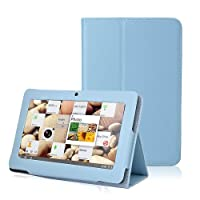 Slim Fit Folio Stand Leather Case Cover for 7 Inch Android Tablet(Q88) -9 Color Options(Light Blue) by GomeBuy