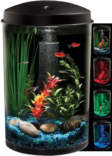 KollerCraft AQUARIUS AquaView 360 Aquarium Kit with LED Light – 3-Gallon
