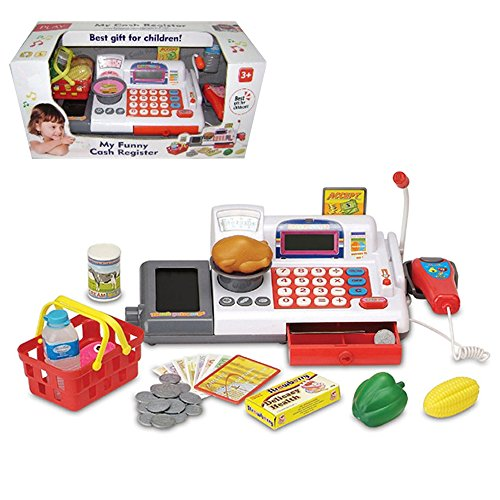 Supermarket Cash Register Toy with Checkout Scanner Weight Scale Microphone Calculator Conveyor Belt Play Money and Food Shopping Playset for kids (Cash Register Scale compare prices)