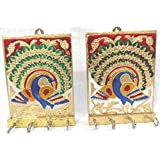 Attractive Handmade Golden Beautiful Meenakari Set Of 2 Peacock Wall Mounted Key Holder Three Hooks In Each Keyholder