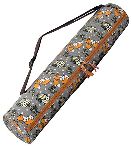 #DoYourYoga Borsa da yoga »Sunita« / Yoga mat bag made of high-class Canvas, for yogamats up to 180 x 60 x 0,3 cm. Fox & Owl dark