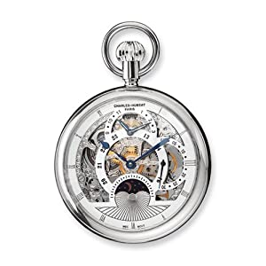 Stnlss Steel Open Face Skeleton Dual Time Pocket Watch by Charles Hubert Paris Watches, Best Quality Free Gift Box Satisfaction Guaranteed