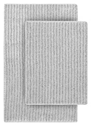 Garland Rug 2-Piece Sheridan Nylon Washable Bathroom Rug Set, Platinum Gray