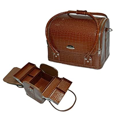 12 inch Brown Faux Crocodile Pattern 4 Extendable Trays Doctor Style Makeup Cosmetics Studio Case Jewelry Storage Organizer Shoulder Bag