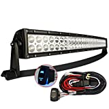 MICTUNING 32-Inch 180W 3B239C Curved LED Light Bar with 12-Feet Rocker Switch Wiring Kit