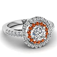 1.40 Ct Round Cut:Ideal Diamond & Orange Sapphire Engagement Ring SI2 by Fascinating Diamonds