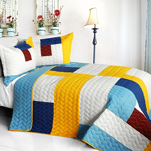 [Timeless - B] Vermicelli-Quilted Patchwork Geometric Quilt Set Full/Queen front-911195