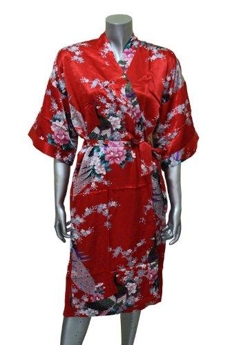 Red Kimono Style Satin Robe - Peacock & Blossom Design