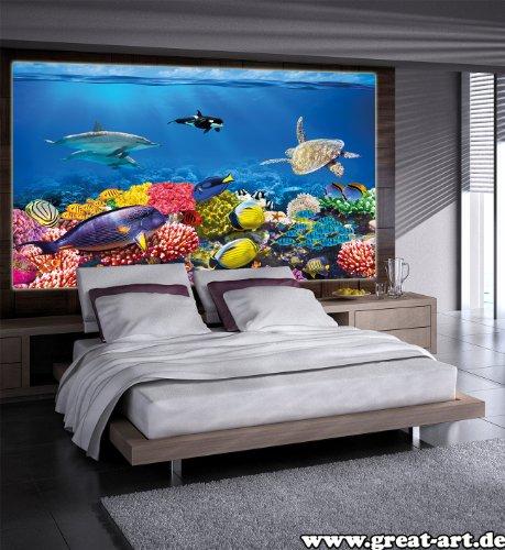 Undersea coral reef photo wall paper aquarium fish sea for Decor mural xxl