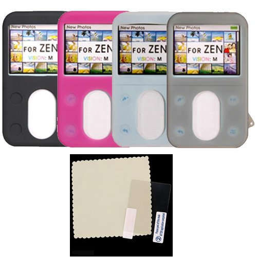30GB Creative Lab Vision M Silicone Skin Case Cover - Bundle with Crystal Clear Screen Shield - 4 Color Choices