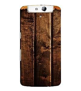 PrintVisa Dark Wooden Pattern 3D Hard Polycarbonate Designer Back Case Cover for Oppo N1