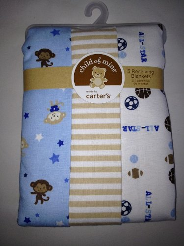 Carter'S Child Of Mine Blue, White, & Tan W/ Monkey Baby Newborn Receiving Blanket Set Of 3 Blankets front-134175