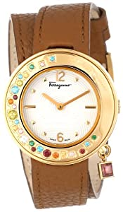 Salvatore Ferragamo Women's F64SBQ50001 S012 Gancino Sparkling Gold Ion-Plated Rotating Multi-Color Stone Bezel Double-Tour Leather Band Watch from Salvatore Ferragamo