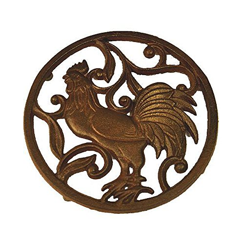 Why Choose Cast Iron Trivet, Bestplus Tablemat Potholders with Rubber Legs Vintage Rooster Shape for...