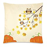 InterestPrint Thanksgiving Day Home Decor, Tree Branch with Owls Pumpkins Pillowcase Cushion 18 x 18 Inches - Autumn Leaves Yellow Pillow Cover Case Shams Decorative