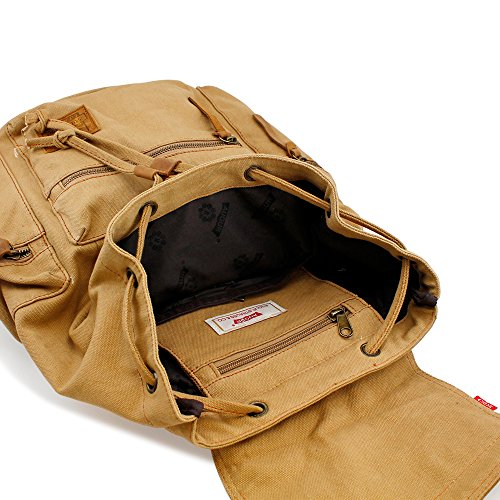 GEARONIC TM Men's Outdoor Vintage Canvas Military Shoulder Travel Hiking Camping School Bag Backpack Fit for Notebook Macbook 11 , 13, 15 inch Air Pro Laptop 4