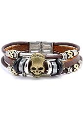 "Pu Leather Bracelet Triple Band Skull, 8.5"""