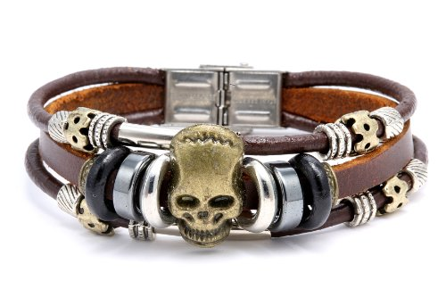 Han Made Bead Pu Leather Bracelets Triple Band Skull Desing 8.5 Inches Include a Gift Puuch