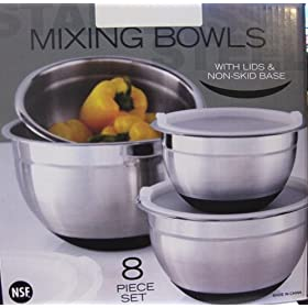 Covered Stainless Steel Non-Skid Bowls - 8 pc.