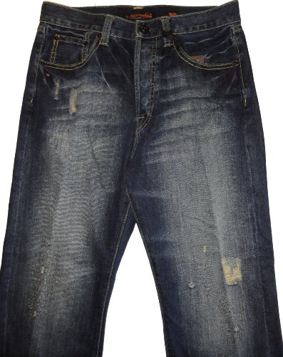 Men's Ed Hardy Distressed  Jeans ADA Eddie Size 30 X 32 - Embroidered Pocket