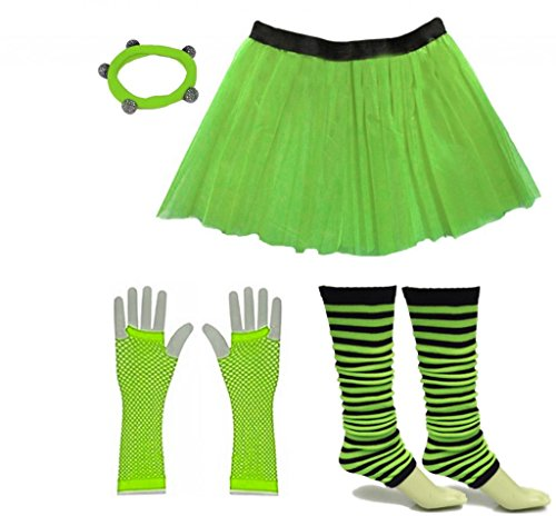 Striped Leg Warmers with Neon Green Skirt and Accessories