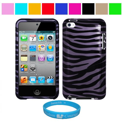 Durable Purple Zebra Two Piece Front and Back Protective Hard Shell Crystal Cover Case for Apple iPod Touch 4th Generation + SumacLife TM Wisdom Courage Wristband, Purple Zebra