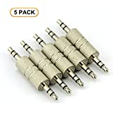 RuiLingTM 5PCS 3.5mm Jack to 3.5mm Audio Male Adapter Connectors.(Silver)