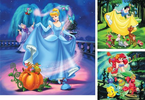 Cheap Ravensburger Spieleverlag Disney 3 Puzzles in a Box, Princess Puzzle 3 x 49 Piece Jigsaw Puzzle: Cinderella, Snow White and Ariel (B0002HR6GW)