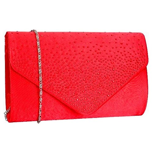 Diamante Trim Flapover Envelope Style Clutch Evening Bag With A Detachable Chain Strap