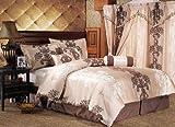 7 Piece Queen Isabel Bedding Comforter Bedding Set Beige