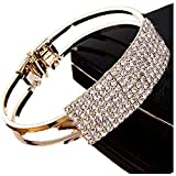 Lisingtool Lady Elegant Bangle Wristband Bracelet Crystal Cuff Bling Gift (Gold)