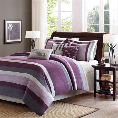Madison Park Boulder Stripe 7 Piece Comforter Set - Purple - Queen front-1022384