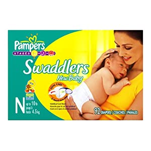 Pampers Swaddlers Diapers, Newborn 92-Count