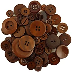 BUTTONS GALORE BIG BAG OF COLORFUL CRAFT & SEWING BUTTONS 5.5 OZ (APPROX 225 PCS) CHOCOLATE BROWN