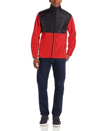 IZOD Men's Long Sleeve Full Zip Pieced Polar Fleece Jacket, Real Red, Small