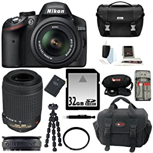 Nikon D3200 w/ 18-55mm and 55-200mm non-VR Lenses (Black) and Gadget Bag + 32GB Memory Card + All in One High Speed Card Reader + 52mm UV Protector + Accessory Kit