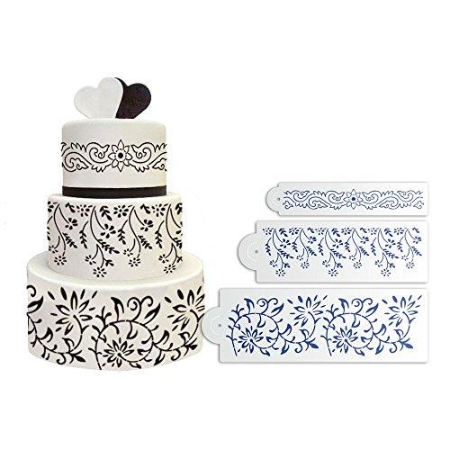 ART Kitchenware 3pcs Flower and Leaf Fondant Stencil for Wedding Cake Decorating DIY Cake Tools Set ST-824 Beige/Semi-Transparent