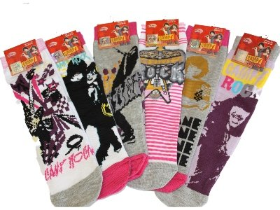 New Girls Official CAMP ROCK Kids Character Cartoon Cotton Rich Ankle Socks in Mixed Design 6 Pair Pack UK Sizes 6-8 / 9-12 / 12-3 / 4-6