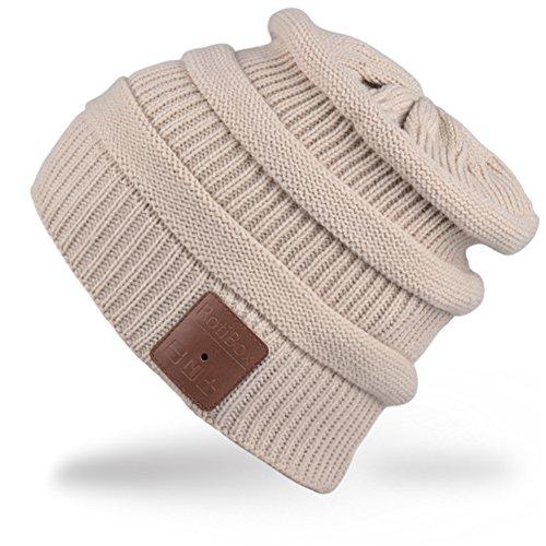 Rotibox inverno lavabile unisex di musica di Bluetooth Beanie di lusso morbido cappello caldo w / cuffia auricolare senza fili microfono auricolare mani libere per Excrise Gym Sport Fitness Corsa Sci Snowboard - Beige