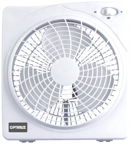 Optimus F-1022 10-Inch 2 Speed Box Fan, White