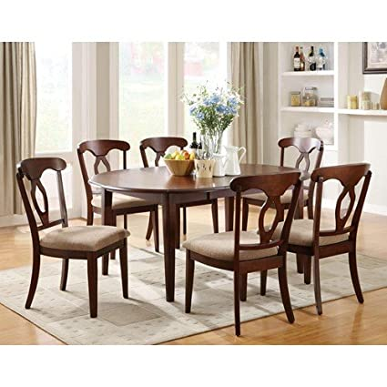 Liam Seven Piece Oval Top Table and Splat Back Chair Dining Set
