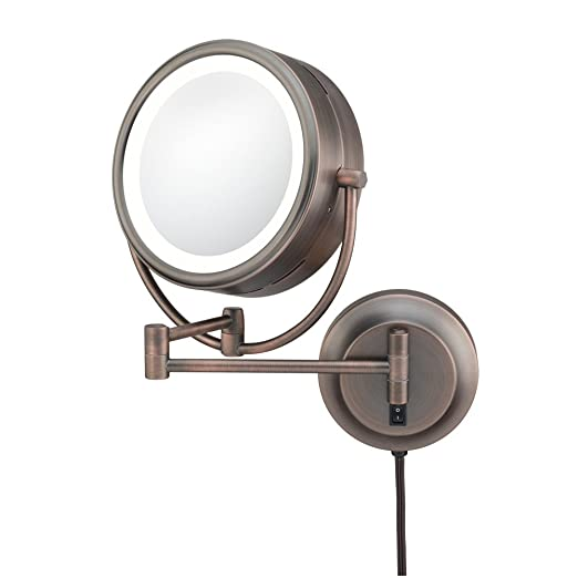 Kimball & Young 92515 Double-Sided Neo Modern LED Lighted Mirror, Plug-In, 1X and 5X Magnification, Italian Bronze