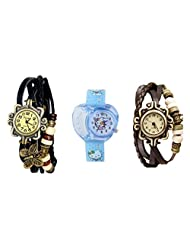 ANALOG KIDS WATCH WITH HELLO KITTY CARTOON PRINTED ON DIAL AND STRAP WITH 2 FREE WOMEN BRACELET WATCH-SET OF 3 - B01BGEXZXC