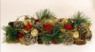 Beautiful Natural Christmas Wreath With 1 Jar Of Berry Scented Candles