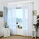 Funnylive® Solid White Sheer Window Curtains Sheer Curtain Shower Curtain The Hook Voile Window Curtain 2 Piece (Total of two panels - 110