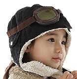 HiroJapan x LeiFeng 飛行帽、パイロット帽子 (ゴーグル付き) 子供用【茶色・黒】(ぷちポケモンフィギュア1個付き)、耳あて付き帽子、あったかボアつき耳あて、寒い冬もこれで暖か、スキーに、普段の外出に、耳まで温かい、寒い所にに行くときは必需品、Drスランプのアラレちゃん、「永遠の0」、紅の豚、風の谷のナウシカもかぶっていました